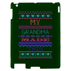 My Grandma Made This Ugly Holiday Green Background Apple iPad 2 Hardshell Case