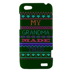 My Grandma Made This Ugly Holiday Green Background HTC One V Hardshell Case