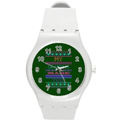 My Grandma Made This Ugly Holiday Green Background Round Plastic Sport Watch (M)