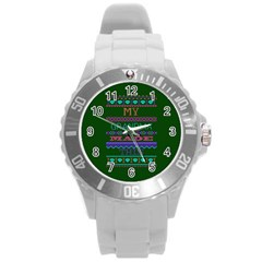 My Grandma Made This Ugly Holiday Green Background Round Plastic Sport Watch (L)