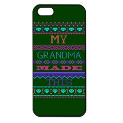 My Grandma Made This Ugly Holiday Green Background Apple iPhone 5 Seamless Case (Black)