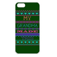 My Grandma Made This Ugly Holiday Green Background Apple iPhone 5 Seamless Case (White)