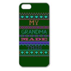 My Grandma Made This Ugly Holiday Green Background Apple Seamless iPhone 5 Case (Clear)