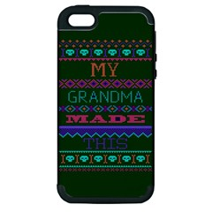 My Grandma Made This Ugly Holiday Green Background Apple iPhone 5 Hardshell Case (PC+Silicone)