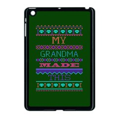 My Grandma Made This Ugly Holiday Green Background Apple iPad Mini Case (Black)