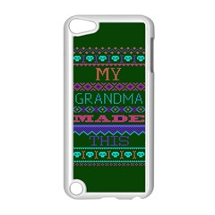My Grandma Made This Ugly Holiday Green Background Apple iPod Touch 5 Case (White)