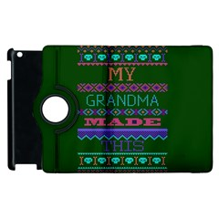 My Grandma Made This Ugly Holiday Green Background Apple iPad 3/4 Flip 360 Case