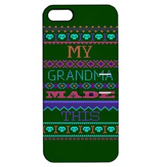 My Grandma Made This Ugly Holiday Green Background Apple iPhone 5 Hardshell Case with Stand