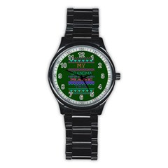 My Grandma Made This Ugly Holiday Green Background Stainless Steel Round Watch