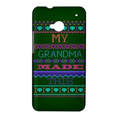My Grandma Made This Ugly Holiday Green Background HTC One M7 Hardshell Case