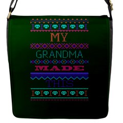 My Grandma Made This Ugly Holiday Green Background Flap Messenger Bag (S)