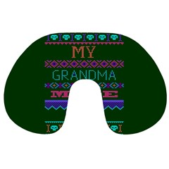 My Grandma Made This Ugly Holiday Green Background Travel Neck Pillows