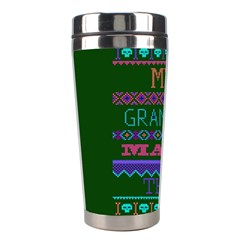 My Grandma Made This Ugly Holiday Green Background Stainless Steel Travel Tumblers