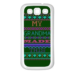 My Grandma Made This Ugly Holiday Green Background Samsung Galaxy S3 Back Case (White)