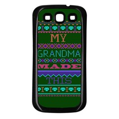 My Grandma Made This Ugly Holiday Green Background Samsung Galaxy S3 Back Case (Black)