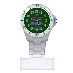 My Grandma Made This Ugly Holiday Green Background Plastic Nurses Watch