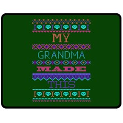 My Grandma Made This Ugly Holiday Green Background Double Sided Fleece Blanket (Medium)