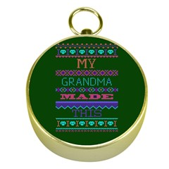 My Grandma Made This Ugly Holiday Green Background Gold Compasses