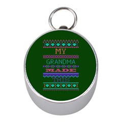 My Grandma Made This Ugly Holiday Green Background Mini Silver Compasses