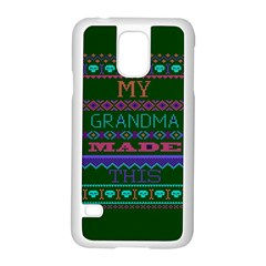 My Grandma Made This Ugly Holiday Green Background Samsung Galaxy S5 Case (white)
