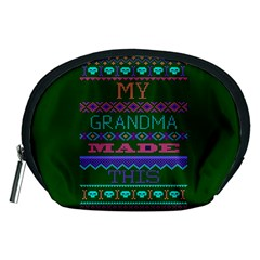 My Grandma Made This Ugly Holiday Green Background Accessory Pouches (Medium)