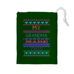 My Grandma Made This Ugly Holiday Green Background Drawstring Pouches (Large)
