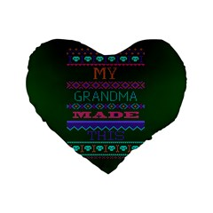 My Grandma Made This Ugly Holiday Green Background Standard 16  Premium Flano Heart Shape Cushions