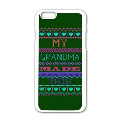 My Grandma Made This Ugly Holiday Green Background Apple iPhone 6/6S White Enamel Case