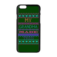 My Grandma Made This Ugly Holiday Green Background Apple iPhone 6/6S Black Enamel Case