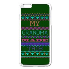 My Grandma Made This Ugly Holiday Green Background Apple iPhone 6 Plus/6S Plus Enamel White Case