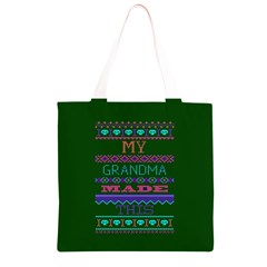 My Grandma Made This Ugly Holiday Green Background Grocery Light Tote Bag