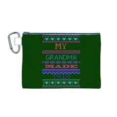 My Grandma Made This Ugly Holiday Green Background Canvas Cosmetic Bag (M)