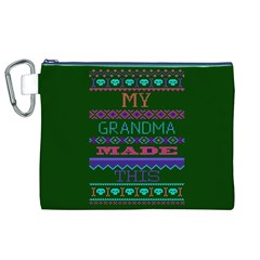 My Grandma Made This Ugly Holiday Green Background Canvas Cosmetic Bag (XL)