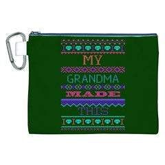 My Grandma Made This Ugly Holiday Green Background Canvas Cosmetic Bag (XXL)