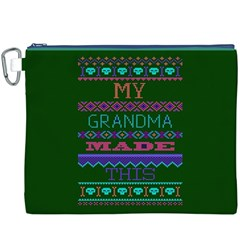 My Grandma Made This Ugly Holiday Green Background Canvas Cosmetic Bag (XXXL)