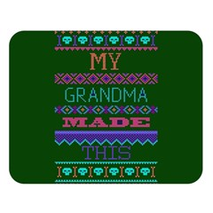 My Grandma Made This Ugly Holiday Green Background Double Sided Flano Blanket (Large)