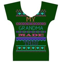 My Grandma Made This Ugly Holiday Green Background Women s V-Neck Cap Sleeve Top