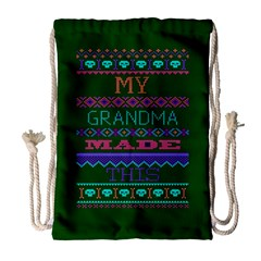 My Grandma Made This Ugly Holiday Green Background Drawstring Bag (Large)