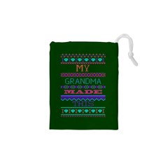 My Grandma Made This Ugly Holiday Green Background Drawstring Pouches (XS)