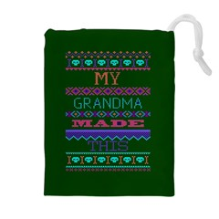 My Grandma Made This Ugly Holiday Green Background Drawstring Pouches (Extra Large)