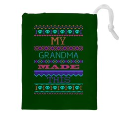 My Grandma Made This Ugly Holiday Green Background Drawstring Pouches (XXL)