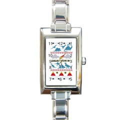 My Grandma Likes Dinosaurs Ugly Holiday Christmas Rectangle Italian Charm Watch