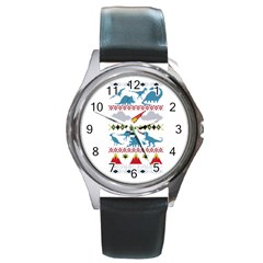 My Grandma Likes Dinosaurs Ugly Holiday Christmas Round Metal Watch