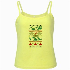 My Grandma Likes Dinosaurs Ugly Holiday Christmas Yellow Spaghetti Tank