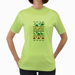 My Grandma Likes Dinosaurs Ugly Holiday Christmas Women s Green T-Shirt