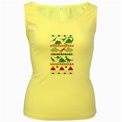 My Grandma Likes Dinosaurs Ugly Holiday Christmas Women s Yellow Tank Top