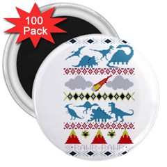 My Grandma Likes Dinosaurs Ugly Holiday Christmas 3  Magnets (100 pack)