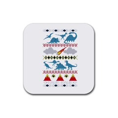 My Grandma Likes Dinosaurs Ugly Holiday Christmas Rubber Coaster (Square)