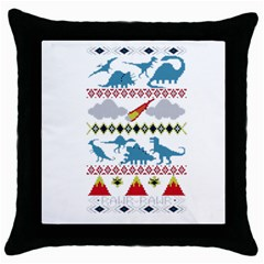 My Grandma Likes Dinosaurs Ugly Holiday Christmas Throw Pillow Case (Black)