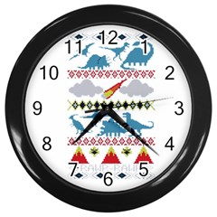 My Grandma Likes Dinosaurs Ugly Holiday Christmas Wall Clocks (Black)